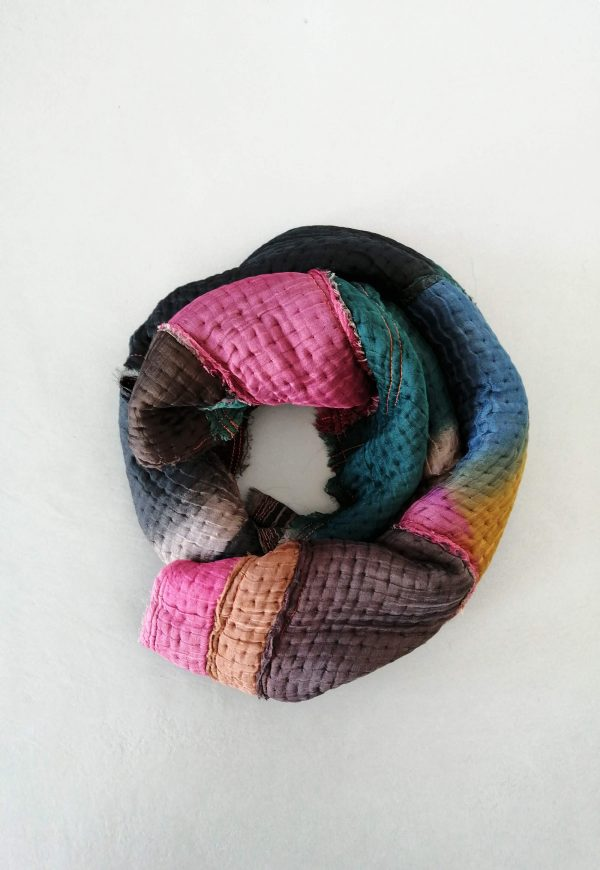 Soft winter shawl made from Wool and silk blend in smoked colors