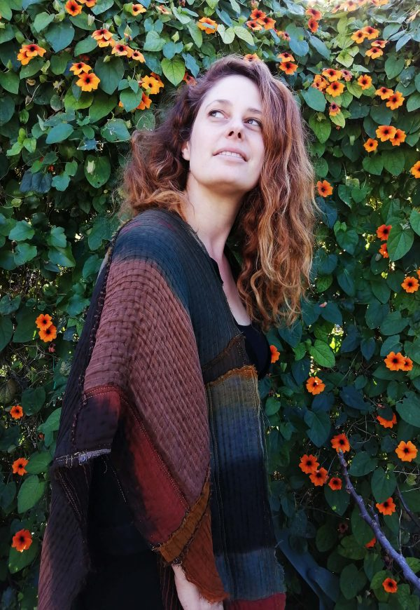 Patchwork shawl made from silk and wool_Dikla Levsky