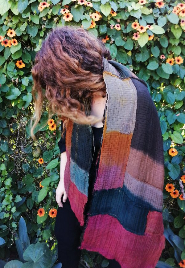 patchwork shawl made from silk and wool